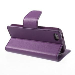 Peňaženkové koženkové puzdro pre iPhone 5s a iPhone 5 - fialové - 3