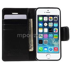 Peňaženkové koženkové puzdro na iPhone 5 a iPhone 5s - čierne - 3
