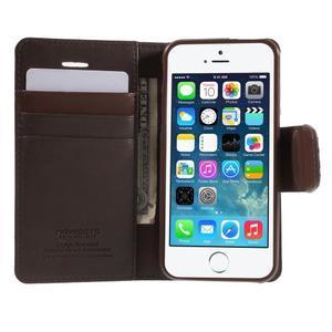 Peňaženkové koženkové puzdro na iPhone 5 a iPhone 5s - tmavohnedé - 3