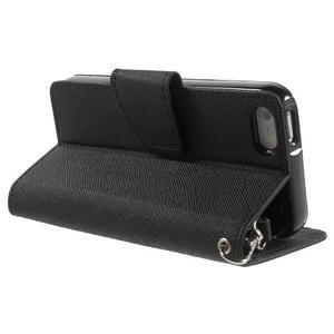 Dvojfarebné peňaženkové puzdro pre iPhone 5 a 5s - čierne/čierne - 3