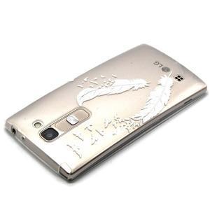 Priehľadný gélový obal pre LG G4c - vtáčie pierka - 3