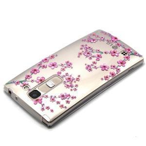 Priehľadný gélový obal pre LG G4c - slivkové kvety - 3