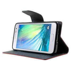 Diary PU kožené puzdro na Samsung Galaxy A3 - červené - 3
