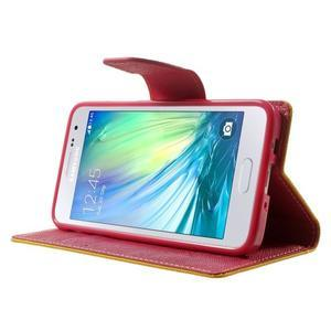 Diary PU kožené puzdro pre Samsung Galaxy A3 - žlté - 3