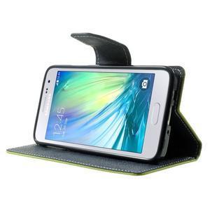 Diary PU kožené puzdro na Samsung Galaxy A3 - zelené - 3