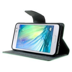Diary PU kožené puzdro na Samsung Galaxy A3 - cyan - 3