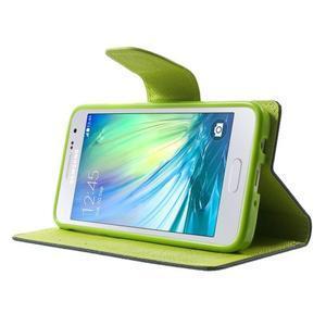 Diary PU kožené puzdro pre Samsung Galaxy A3    - tmavomodré - 3