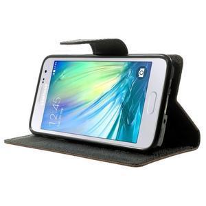Diary PU kožené puzdro na Samsung Galaxy A3 -hnedé - 3