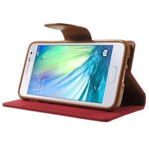 Luxury textilné / koženkové puzdro na Samsung Galaxy A3 - červené - 3