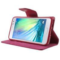 Luxury textilné / koženkové puzdro na Samsung Galaxy A3 - rose - 3/7
