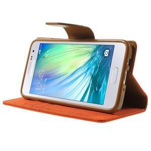 Luxury textilné / koženkové puzdro pre Samsung Galaxy A3 - oranžové - 3