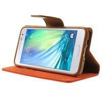 Luxury textilné / koženkové puzdro pre Samsung Galaxy A3 - oranžové - 3/7