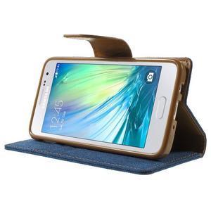 Luxury textilné / koženkové puzdro pre Samsung Galaxy A3    - modré - 3