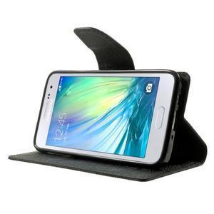Diary PU kožené puzdro na Samsung Galaxy A3 - čierne - 3