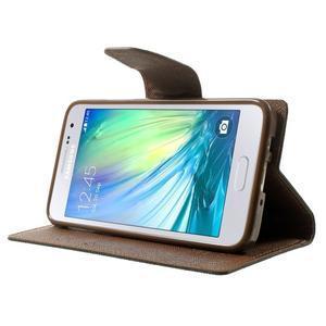 Diary PU kožené puzdro pre Samsung Galaxy A3 - čierne/hnedé - 3