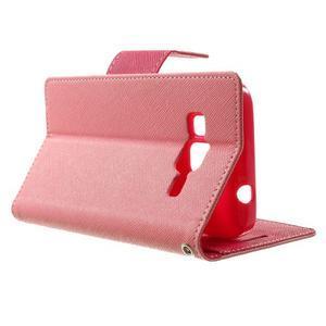 Fancy PU kožené puzdro pre Samsung Galaxy Core Prime - ružové - 3