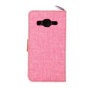 Jeans textilní/koženkové pouzdro na Samsung Galaxy Core Prime - růžové - 3