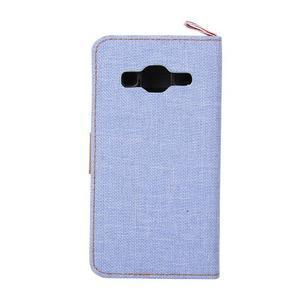 Jeans textilné/koženkové puzdro pre Samsung Galaxy Core Prime - svetlo modré - 3