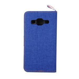 Jeans textilné/koženkové puzdro pre Samsung Galaxy Core Prime - modré - 3