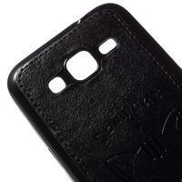 Mačička Domi kryt s koženkovým chrptom pre Samsung Galaxy Core Prime - čierný - 3/5