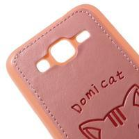 Mačička Domi kryt s koženkovým chrptom pre Samsung Galaxy Core Prime - ružový - 3/5