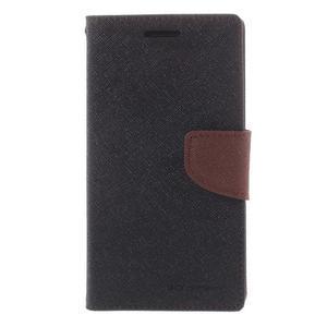 Diary PU kožené puzdro pre mobil Samsung Galaxy Grand Prime - čierne/hnedé - 3
