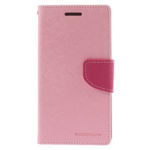 Diary PU kožené puzdro na mobil Samsung Galaxy Grand Prime - ružové - 3