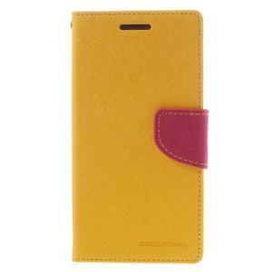 Diary PU kožené puzdro na mobil Samsung Galaxy Grand Prime - žlté - 3