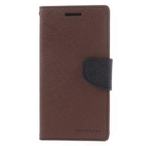 Diary PU kožené puzdro na mobil Samsung Galaxy Grand Prime - hnedé - 3