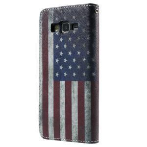 Wallet PU kožené puzdro na mobil Samsung Galaxy Grand Prime - US vlajka - 3