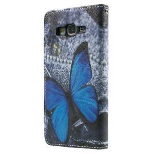 Wallet PU kožené puzdro na mobil Samsung Galaxy Grand Prime - modrý motýľ - 3