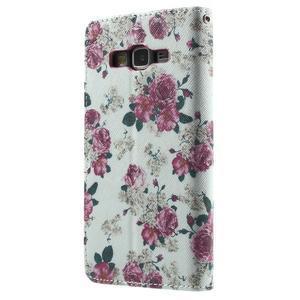 Wallet PU kožené puzdro pre mobil Samsung Galaxy Grand Prime - kvietky - 3