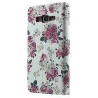 Wallet PU kožené puzdro pre mobil Samsung Galaxy Grand Prime - kvietky - 3/7