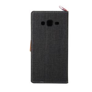 Jeans koženkové / textilné puzdro pre Samsung Galaxy Grand Prime - čierne - 3