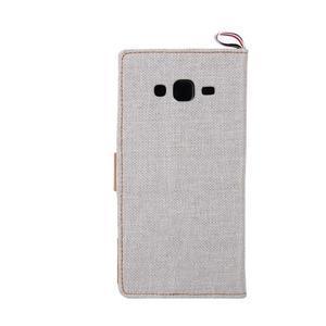Jeans koženkové / textilné puzdro pre Samsung Galaxy Grand Prime - šedé - 3