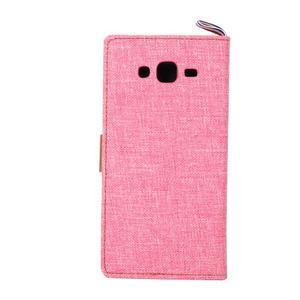 Jeans koženkové / textilné puzdro pre Samsung Galaxy Grand Prime - ružové - 3