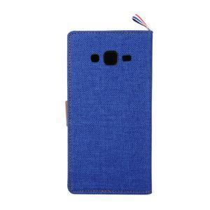 Jeans koženkové / textilné puzdro pre Samsung Galaxy Grand Prime - modré - 3