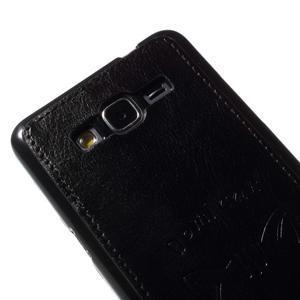 Mačička Domi kryt s PU koženými chrbtom pre Samsung Galaxy Grand Prime - čierny - 3