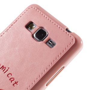 Mačička Domi kryt s PU koženým chrbtom pre Samsung Galaxy Grand Prime - ružový - 3