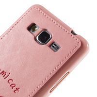 Mačička Domi kryt s PU koženým chrbtom pre Samsung Galaxy Grand Prime - ružový - 3/6
