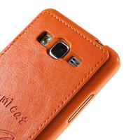 Mačička Domi kryt s PU koženým chrbtom pre Samsung Galaxy Grand Prime - oranžový - 3/6