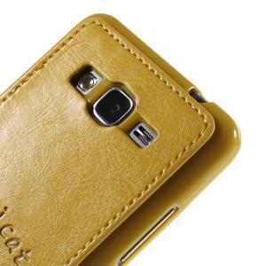 Mačička Domi kryt s PU koženým chrbtom pre Samsung Galaxy Grand Prime - žltý - 3