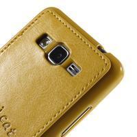Mačička Domi kryt s PU koženým chrbtom pre Samsung Galaxy Grand Prime - žltý - 3/6