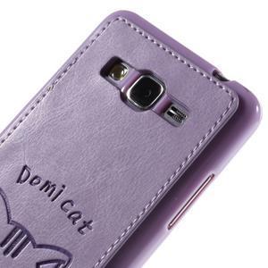 Mačička Domi kryt s PU koženými chrbtom pre Samsung Galaxy Grand Prime - fialový - 3