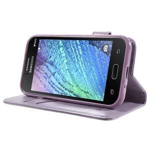 Koženkové puzdro s mačičkou Domi na Samsung Galaxy J1 - fialové - 3