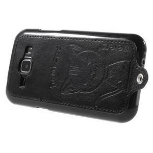 Obal s koženkovým chrbtom a mačičkou Domi pre Samsung Galaxy J1 -  čierne - 3