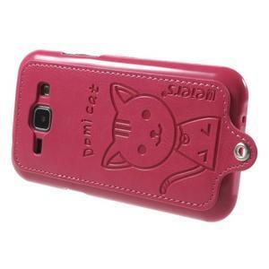 Obal s koženkovým chrbtom a mačičkou Domi pre Samsung Galaxy J1 -  magneta - 3