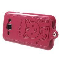 Obal s koženkovým chrbtom a mačičkou Domi pre Samsung Galaxy J1 -  magneta - 3/5