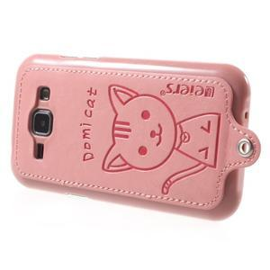 Obal s koženkovým chrbtom a mačičkou Domi pre Samsung Galaxy J1 -  ružová - 3