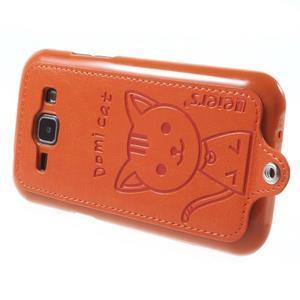 Obal s koženkovým chrbtom a mačičkou Domi pre Samsung Galaxy J1 -  oranžový - 3